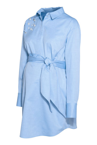 MAMA Shirt with a tie belt - Light blue - Ladies | H&M GB
