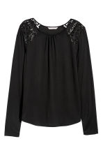 Long-sleeved top with lace - Black - Ladies | H&M IE 2