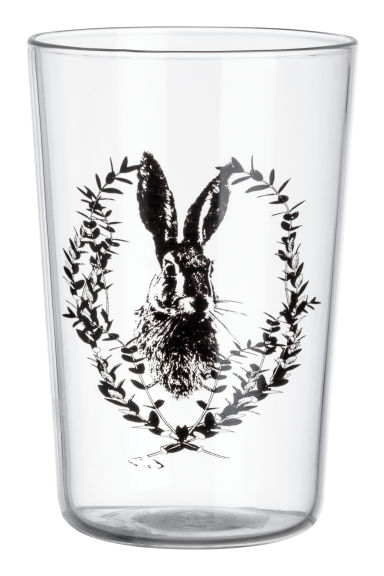 Tumbler with a print motif - Clear glass/Hare - Home All | H&M CN 1