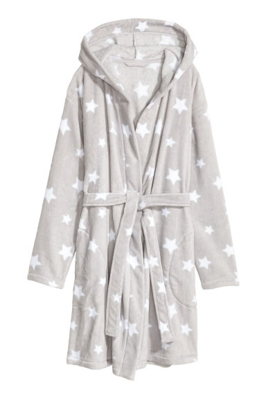 Fleece dressing gown - Light grey/Stars - Ladies | H&M