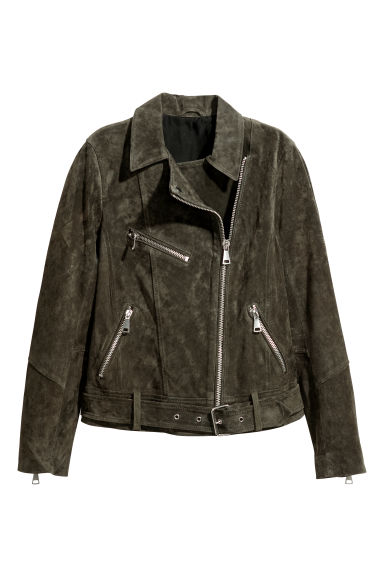 Suede biker jacket - Dark khaki green - Ladies | H&M