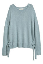 Knitted jumper with ties - Turquoise - Ladies | H&M CN 2