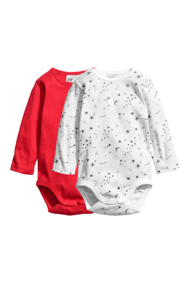2-pack long-sleeved bodysuits - Red -  | H&M