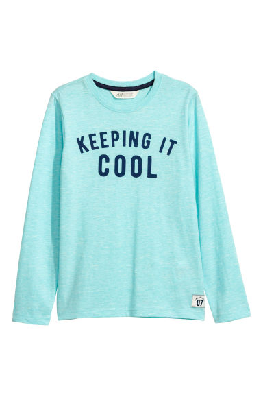Jersey top with a print motif - Light turquoise marl - Kids | H&M CN