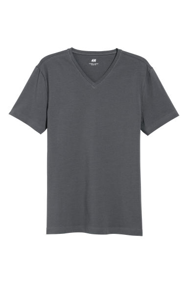 T-shirt scollo a V Slim fit - Grigio scuro - UOMO | H&M IT