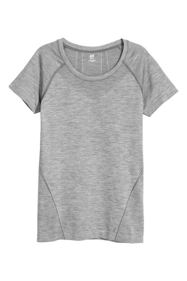 Seamless sports top - Grey - Ladies | H&M CN