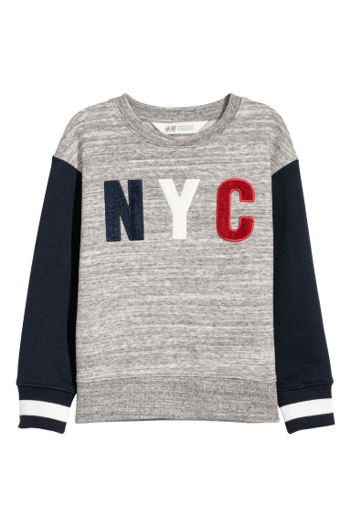 Sweatshirt with a motif - Grey marl/Dark blue -  | H&M CN