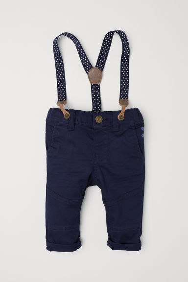 Pantaloni con bretelle - Blu scuro - BAMBINO | H&M IT