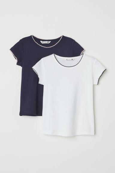 2-pack jersey tops - White/Dark blue - Kids | H&M GB