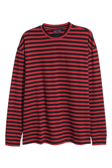 Long-sleeved top - Red/Black striped -  | H&M