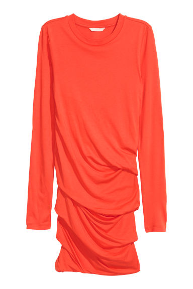 Draped jersey dress - Orange -  | H&M