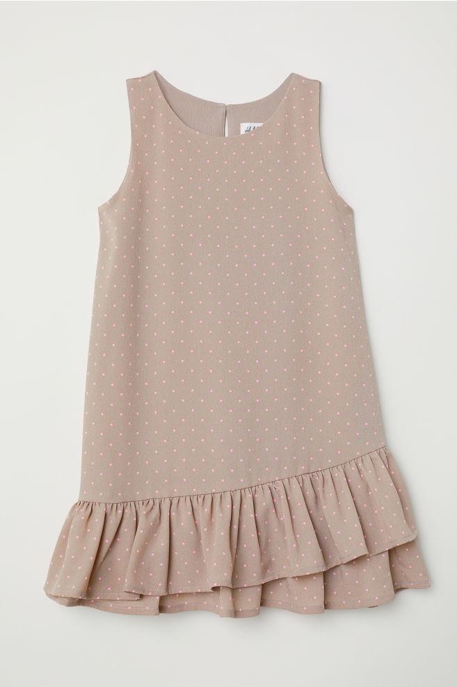 Robe volantée - Taupe/rose/pois -   H&M FR 1