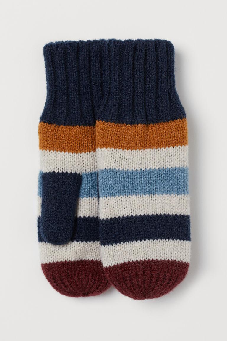 Knitted mittens - Dark blue/Multicolour stripes - Kids | H&M GB