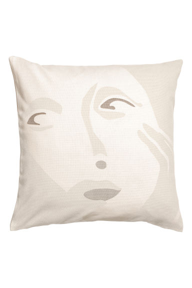 Cushion cover with a motif - Beige -  | H&M CN