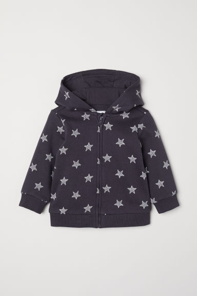 Hooded jacket - Dark grey/Stars - Kids | H&M CN