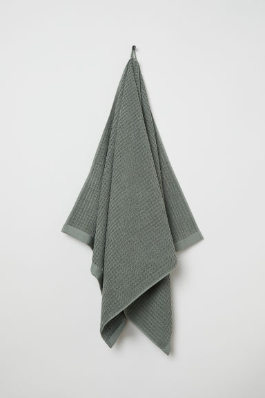 Jacquard-weave hand towel - Khaki green - Home All | H&M CN