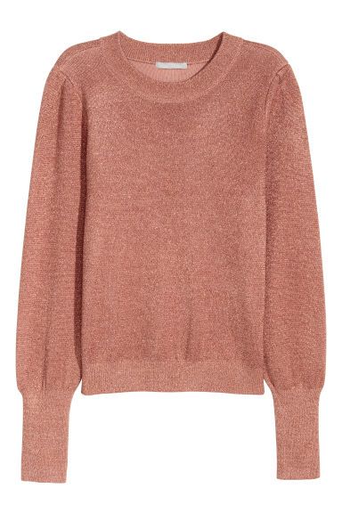 Fine-knit jumper - Rust/Glittery - Ladies | H&M GB