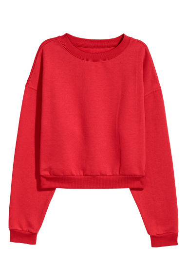 Sweat-shirt court - Rouge vif -  | H&M BE