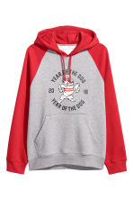 Hooded top with raglan sleeves - Grey marl/Red - Men | H&M GB 2