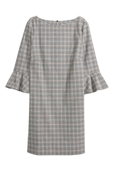 Flounce-sleeved dress - Black/Checked - Ladies | H&M CN