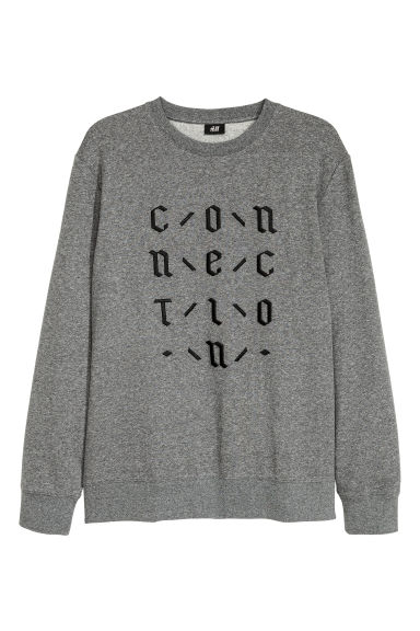 Sweatshirt with embroidery - Dark grey marl -  | H&M