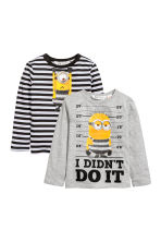 2-pack jersey tops - Grey/Minion - Kids | H&M CN 2