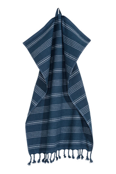 Striped hand towel - Dark blue/White striped - Home All | H&M GB
