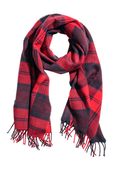 Patterned scarf - Red/Checked - Men | H&M 1