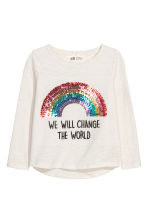 Jersey top with sequined motif - White/Rainbow - Kids | H&M CN 2
