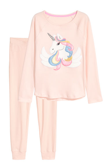 Jersey pyjamas - Powder pink/Unicorn - Kids | H&M CN 1