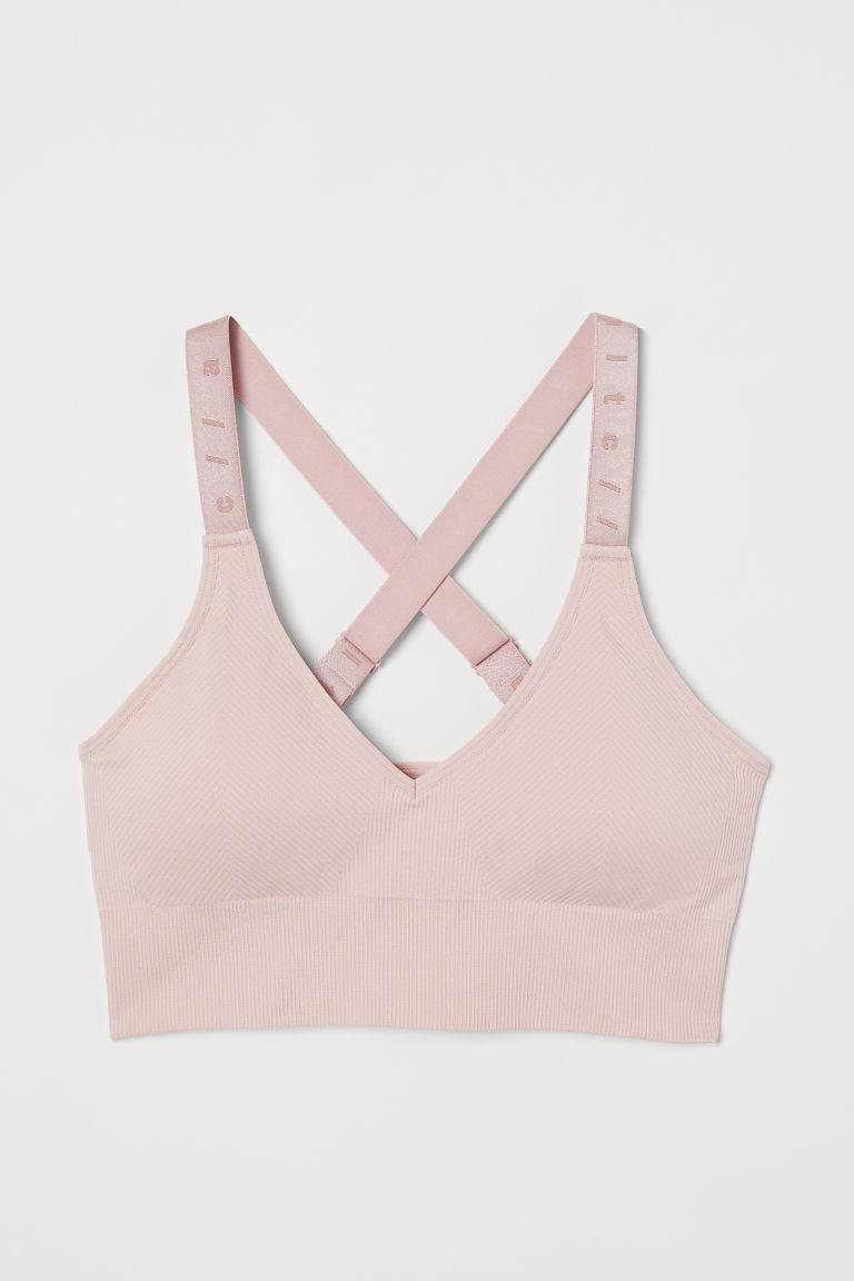 Seamless sports bra - Light pink - Ladies   H&M GB