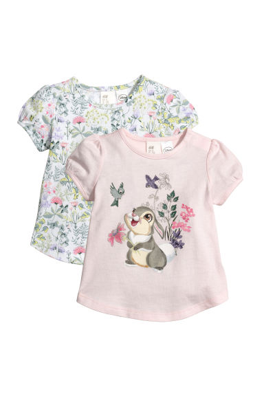 2-pack printed tops - Light pink/Bambi - Kids | H&M CN