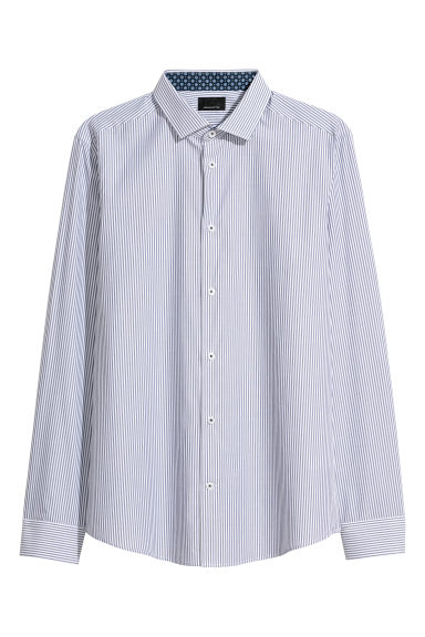 Premium cotton shirt - Dark blue/White striped - Men | H&M