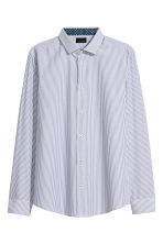 Premium cotton shirt - Dark blue/White striped - Men | H&M CN 2