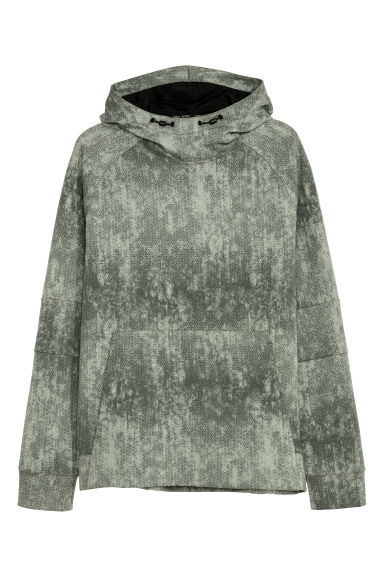 Hooded sports top - Green/Patterned -  | H&M IE