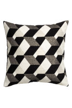 Jacquard-weave cushion cover - Black/Patterned - Home All | H&M IE 1