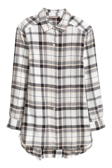 H&M+ Flannel shirt - Grey/White - Ladies | H&M IE