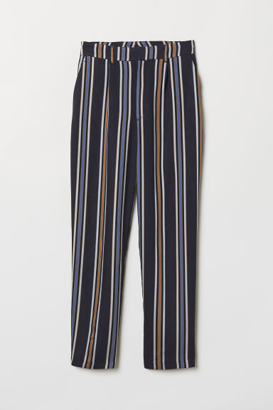 Ankle-length trousers - Dark blue/Striped - Ladies | H&M CN