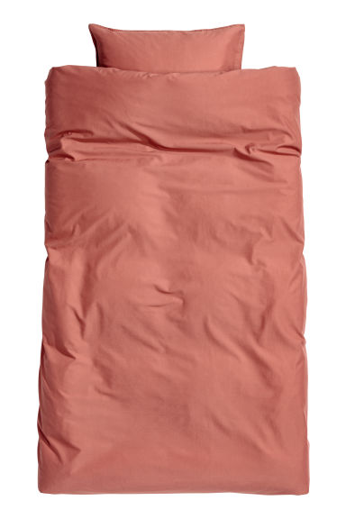 Washed cotton duvet cover set - Rust red - Home All | H&M IE 1