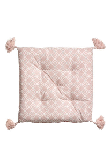 Seat cushion with tassels - Light pink/White patterned - Home All | H&M CN