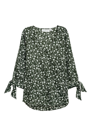 Cotton blouse - Dark green/Patterned - Ladies | H&M CN