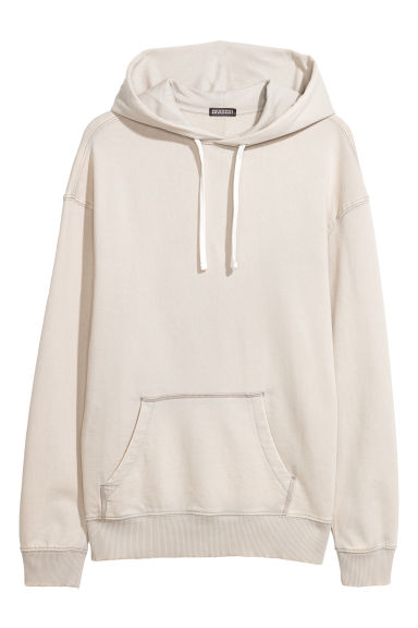 Washed hooded top - Light beige -  | H&M