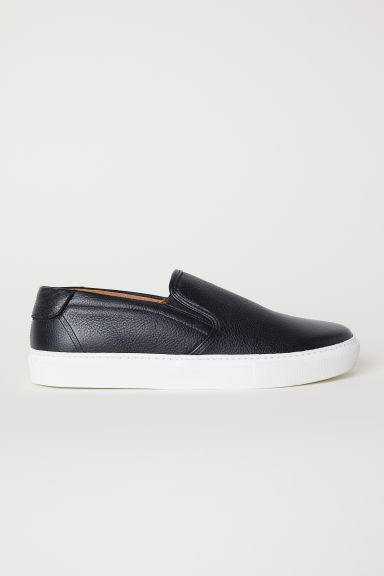 Leather slip-on trainers - Black - Men | H&M CN