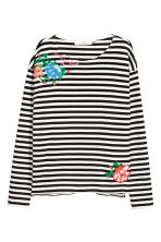 Jersey top with embroidery - Black/White striped - Ladies | H&M IE 1