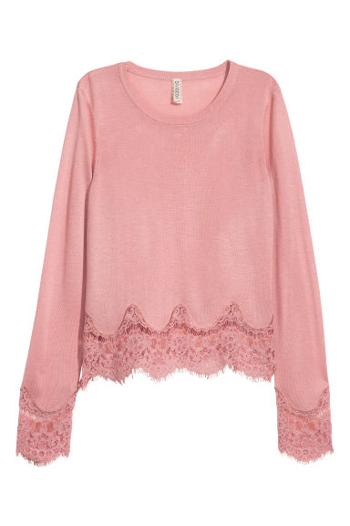 Jumper with lace details - Vintage pink -  | H&M