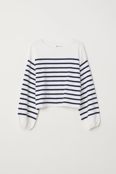 Fine-knit jumper - White/Dark blue striped -  | H&M CN