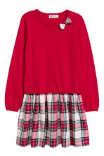 Fine-knit dress - Red/Checked - Kids | H&M CN 2