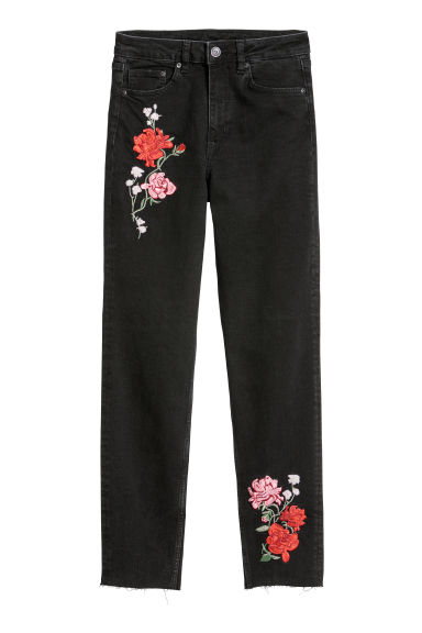 Slim Mom Jeans - Black denim/Flowers - Ladies | H&M