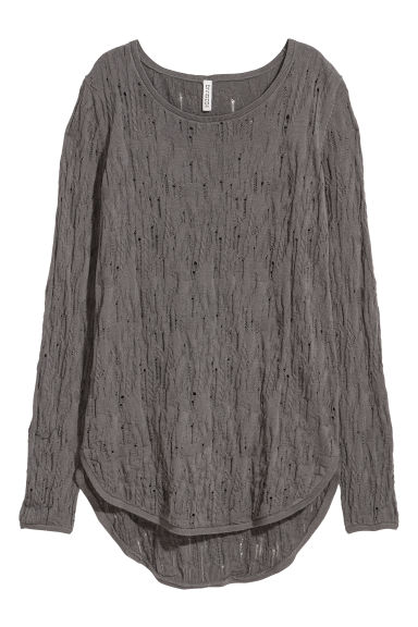 Trashed knitted jumper - Dark grey - Ladies | H&M CN