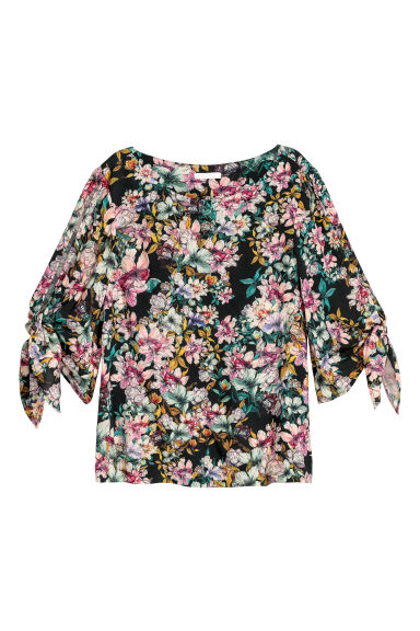 Tie-sleeve blouse - Black/Large flowers - Ladies | H&M IE